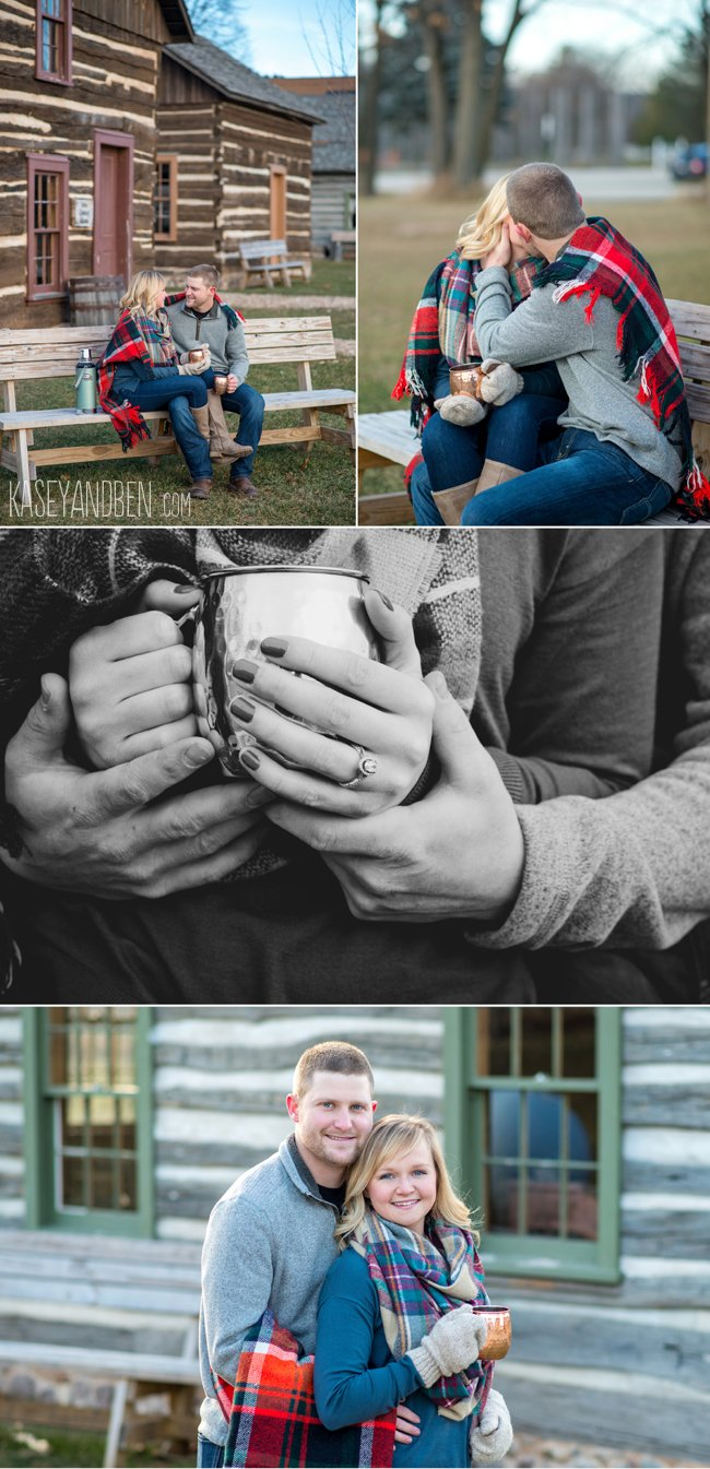 cabin-green-bay-winter-engagement-pictures-oneida-photographer-snow-wisconsin-woods-evergreens-plaid-1
