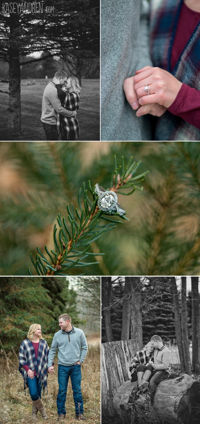 cabin-green-bay-winter-engagement-pictures-oneida-photographer-snow-wisconsin-woods-evergreens-plaid-2