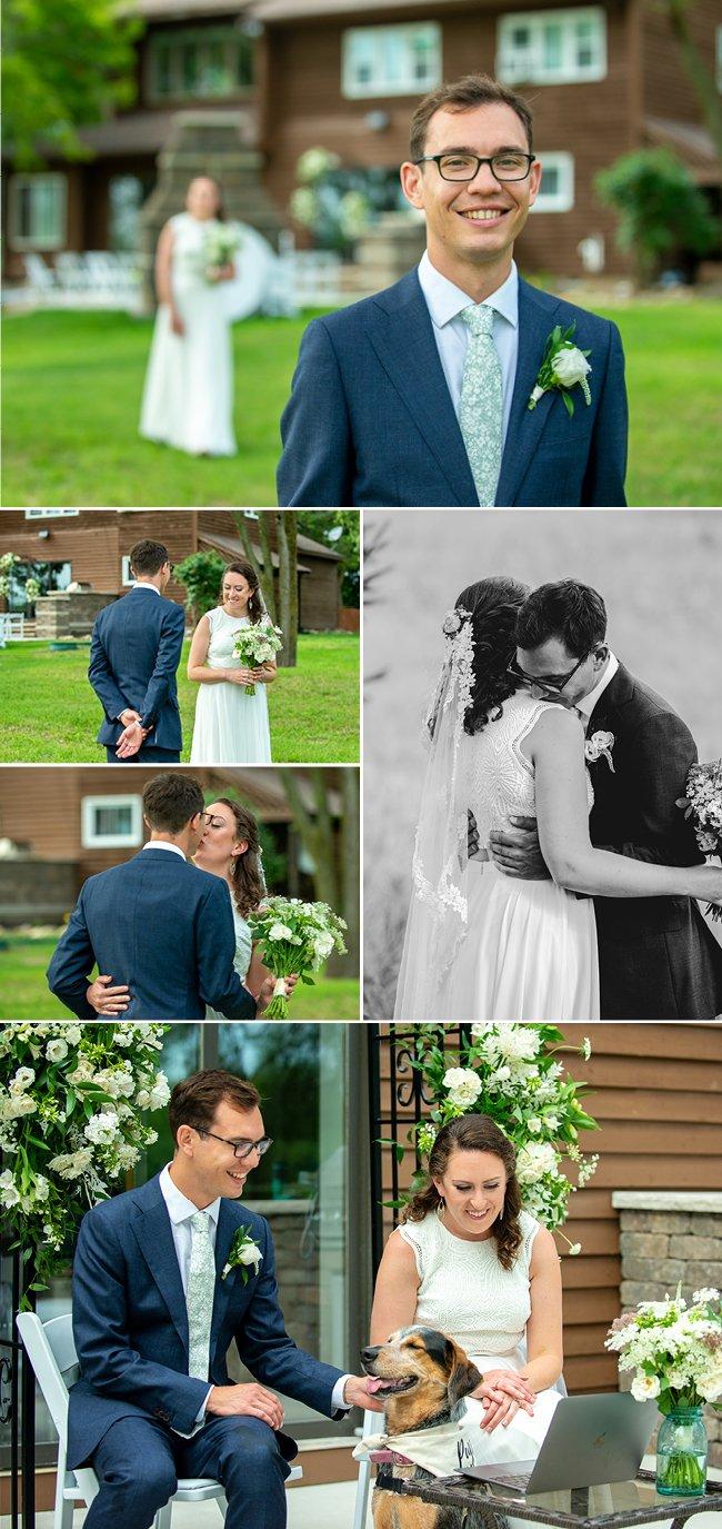 First look Door County Wedding